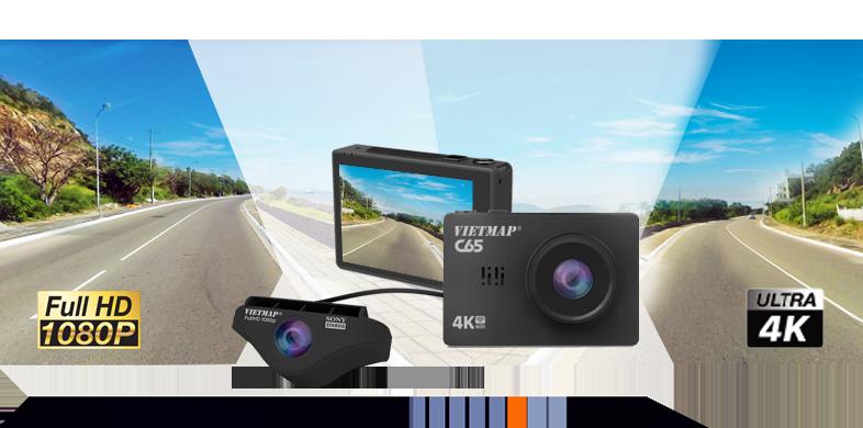 Vietmaps C65 - Camera Hành Trình Ghi Hình Trước & Sau Xe 4K